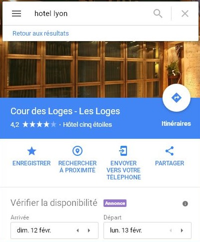 Annonces-Local-Search-Google-Maps-Résultat-Hotel-Lyon