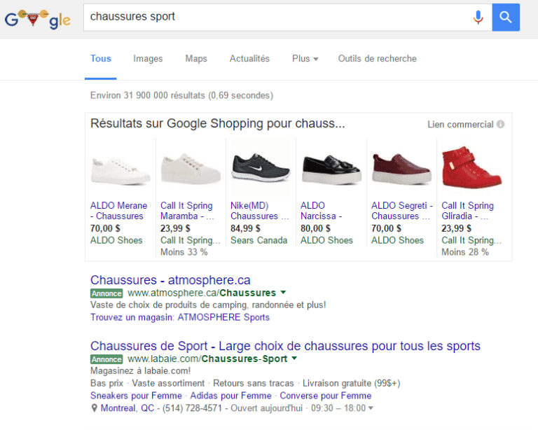 Google Shopping annonce